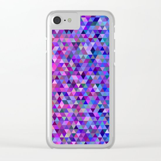 Pink and blue triangles Clear iPhone Case
