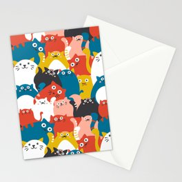 Cats Crowd Pattern Stationery Cards