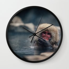 Hot Spring Snow Monkey Wall Clock