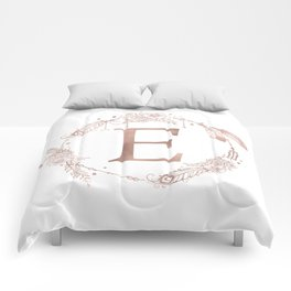 Letter E Rose Gold Pink Initial Monogram Comforters