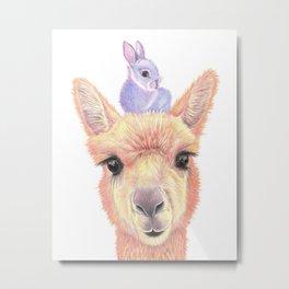 Orange Alpaca and Purple Bunny Metal Print
