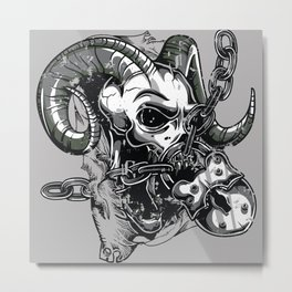 Devil Chained Metal Print