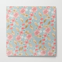 Floral Patterns x Dusty Blue Metal Print