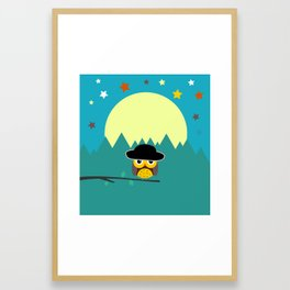Clear night with a cute owl on a tree branch Framed Art Print