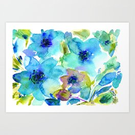 Bloom in blue #2 || watercolor Art Print