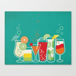 Summer Fruity Cocktail Party on Teal Background Canvas Print