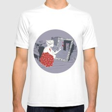 mirror White Mens Fitted Tee SMALL