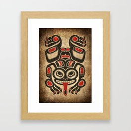 Red and Black Haida Spirit Tree Frog Framed Art Print