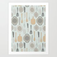 kitchen Art Prints featuring kitchen by La Señora
