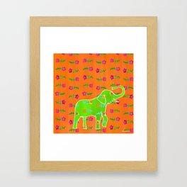 Elephant - green Framed Art Print