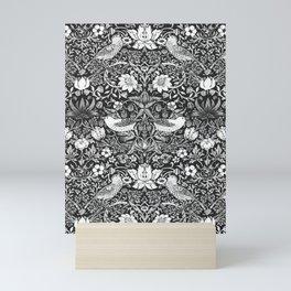 Art Nouveau Bird & Flower Tapestry, Black & White Mini Art Print