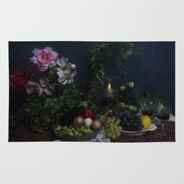 Classic  still life with flowers, fruit, vegetables and wine Rug