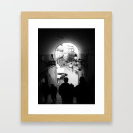 Salida Secreta de la Plaza Mayor - B&W street photography Framed Art Print