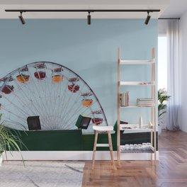 colorful ferris wheel at Santa Monica pier California USA with blue sky Wall Mural