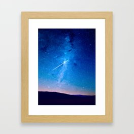 distant milky way galaxy at night beautiful night sky shooting star Framed Art Print