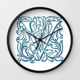 Letter V Elegant Vintage Floral Letterpress Monogram Wall Clock