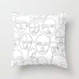 Subtle Faces Throw Pillow