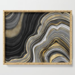 Black Gold and Copper Marble Serving Tray