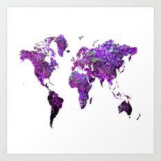 Purple World Map  Art Print