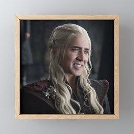 Nicholas Cage GOT Faceswap Mother of Dragons Framed Mini Art Print