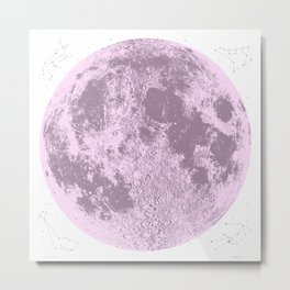 Pink Full Moon Print, by Christy Nyboer Metal Print