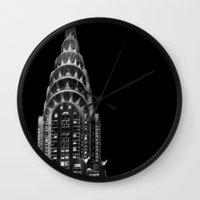 dark side Wall Clocks featuring Dark side by Françoise Reina