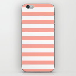 Simply Striped in Salmon Pink and White iPhone Skin