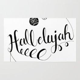 "Hand Written Holiday Themed ""Hallelujah"" Rug"