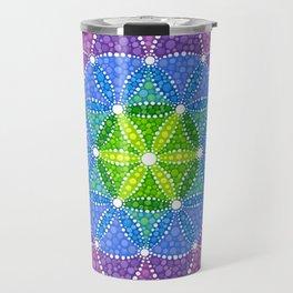 Rainbow Flower of Life Travel Mug