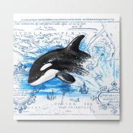 Breaching Baby Orca Watercolor Blue vintage Map Metal Print