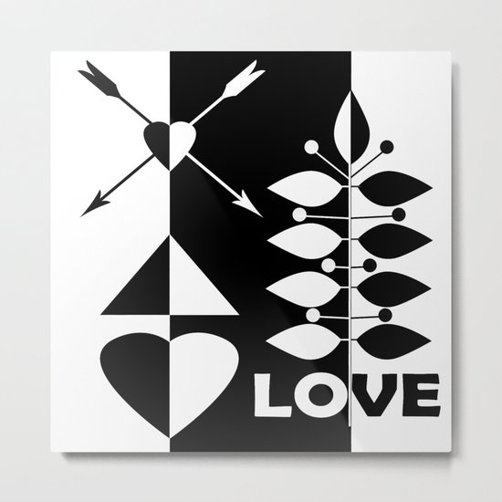 Scandinavian black and white abstract pattern . Metal Print