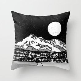 Mount Shasta Black and White Throw Pillow
