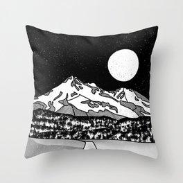 Mount Shasta Black and White Throw Pillow