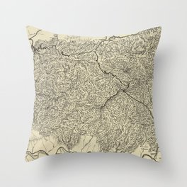 The Great Smoky Mountains National Park Map (1935) Throw Pillow
