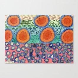 Seven Red Circles Many Brown Dots Canvas Print