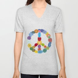 Peace Sign In Colors Unisex V-Neck