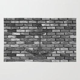 Black Anchor Brickwall Rug