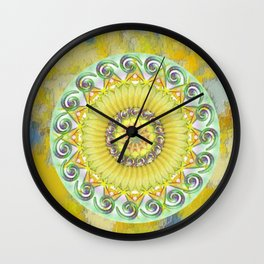 a sea of green and yellow Wall Clock