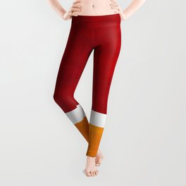 Burnt Red Yellow Ochre Mid Century Modern Abstract Minimalist Rothko Color Field Squares Leggings