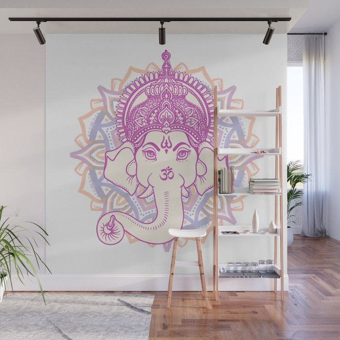 Ganesha Elephant God On Hand Painted Mandala Wall Mural By Pixxart