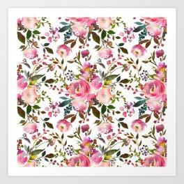 Pretty Pink Blossom on White Art Print
