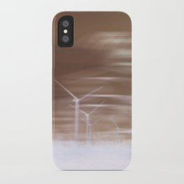 Ghostly wind turbines iPhone Case