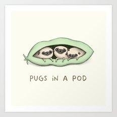 Pugs in a Pod Art Print