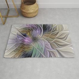 Abstract Flower, Colorful Floral Fractal Art Rug