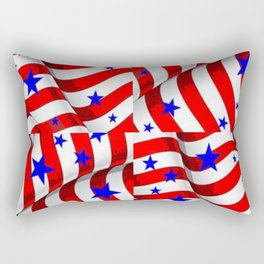 RED PATRIOTIC JULY 4TH BLUE STARS ART Rectangular Pillow