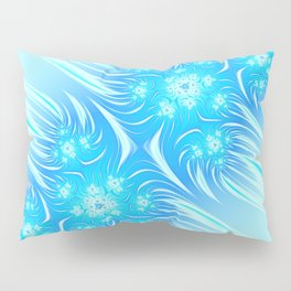 Abstract Christmas aqua blue white pattern. Frozen flowers Pillow Sham