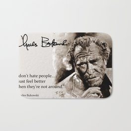 BUKOWSKI - people QUOTE #2 - sepia Bath Mat