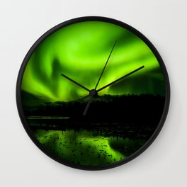 aurora borealis northern lights sky Wall Clock