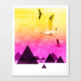 seagulls in shiny sky Canvas Print