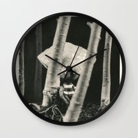 tim burton Wall Clocks featuring Oyster Boy - tim burton by PaperTigress
